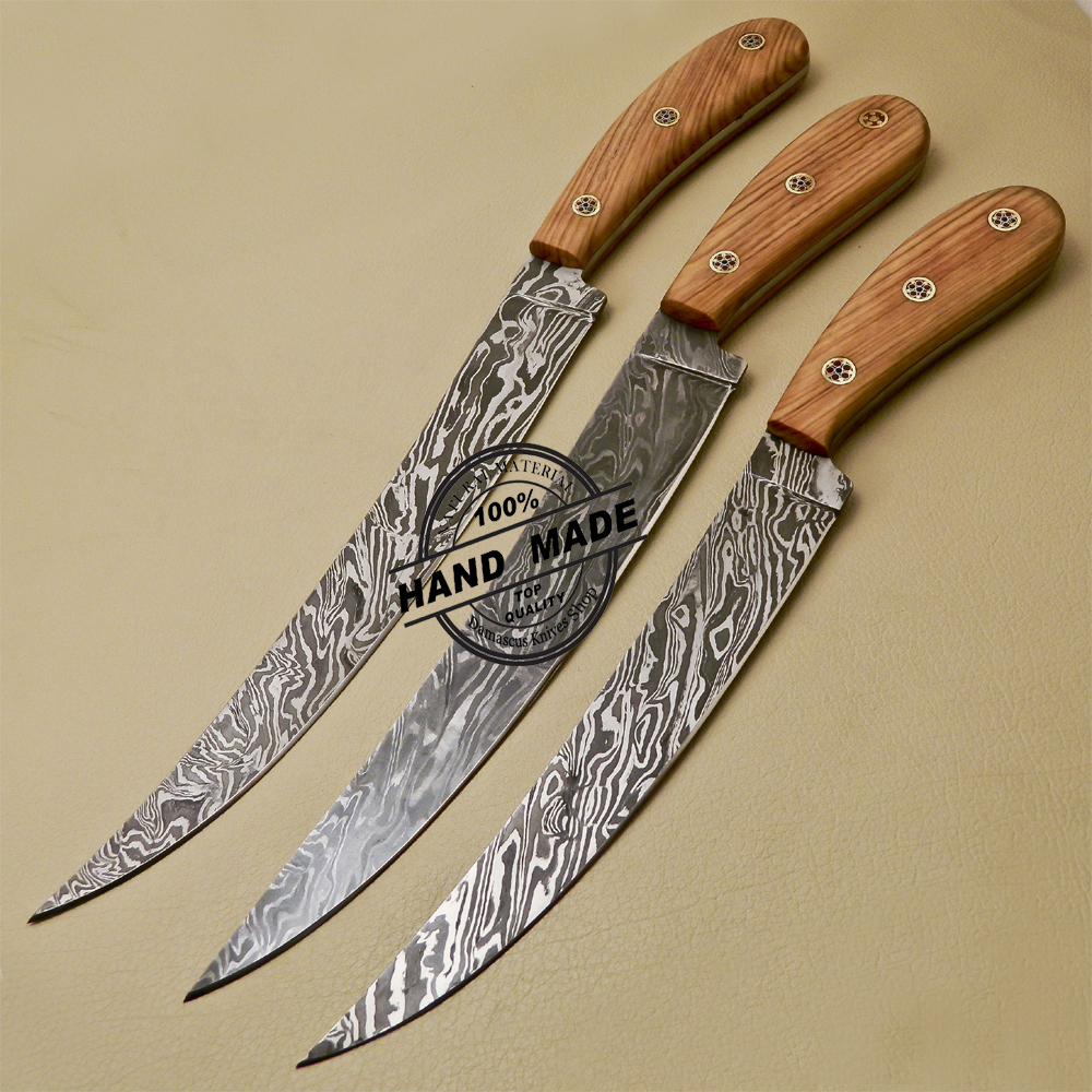 3 PCs Damascus Kitchen Knives