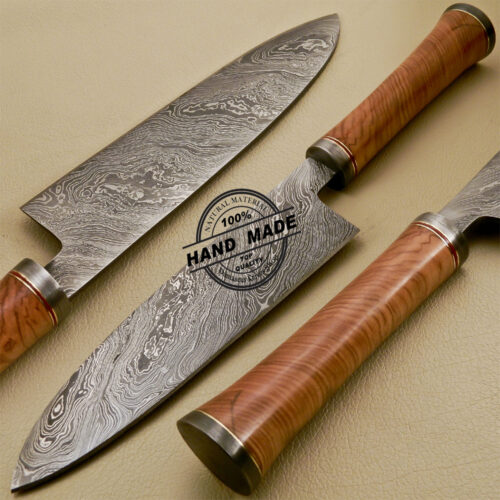 Attrayant Damascus Chef Knife Custom Handmade Damascus Steel Kitchen Damascus Chef  Knife With Cow Handle 839