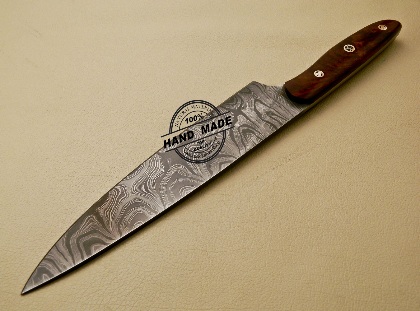 custom kitchen knives damascus kitchen knife custom handmade damascus kitchen knife with rose wood handle 840 3780