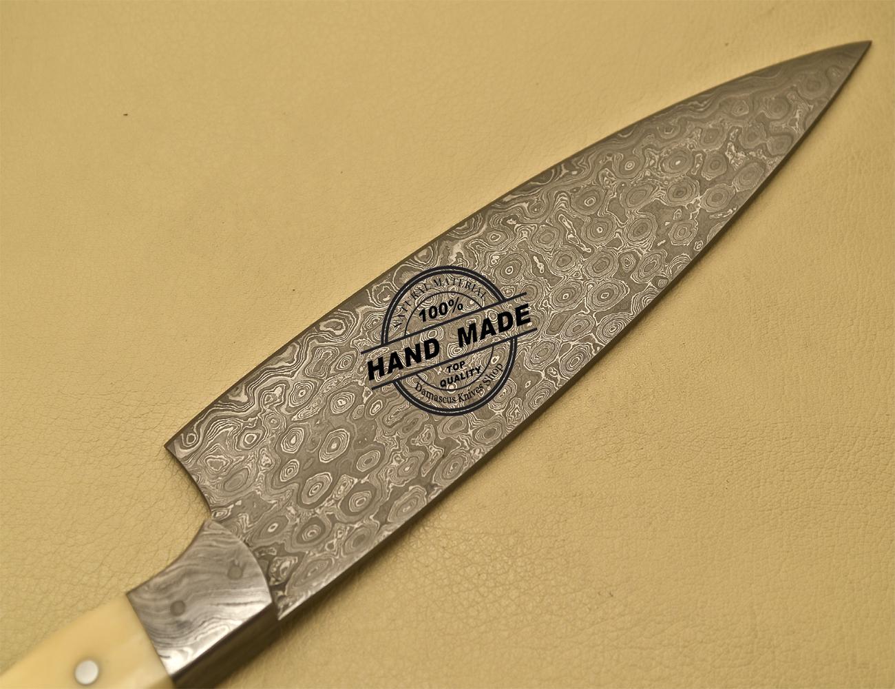 damascus kitchen knife custom handmade damascus steel kitchen chef knife with bone handle 904. Black Bedroom Furniture Sets. Home Design Ideas
