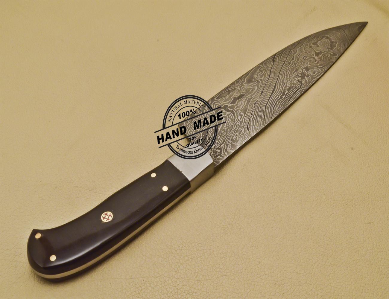 custom handmade damascus steel chef kitchen knife with buffalo horn. Black Bedroom Furniture Sets. Home Design Ideas