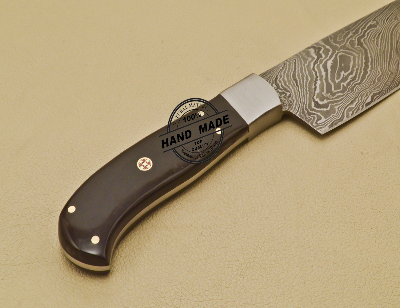 Custom Handmade Damascus Steel Chef Kitchen Knife With