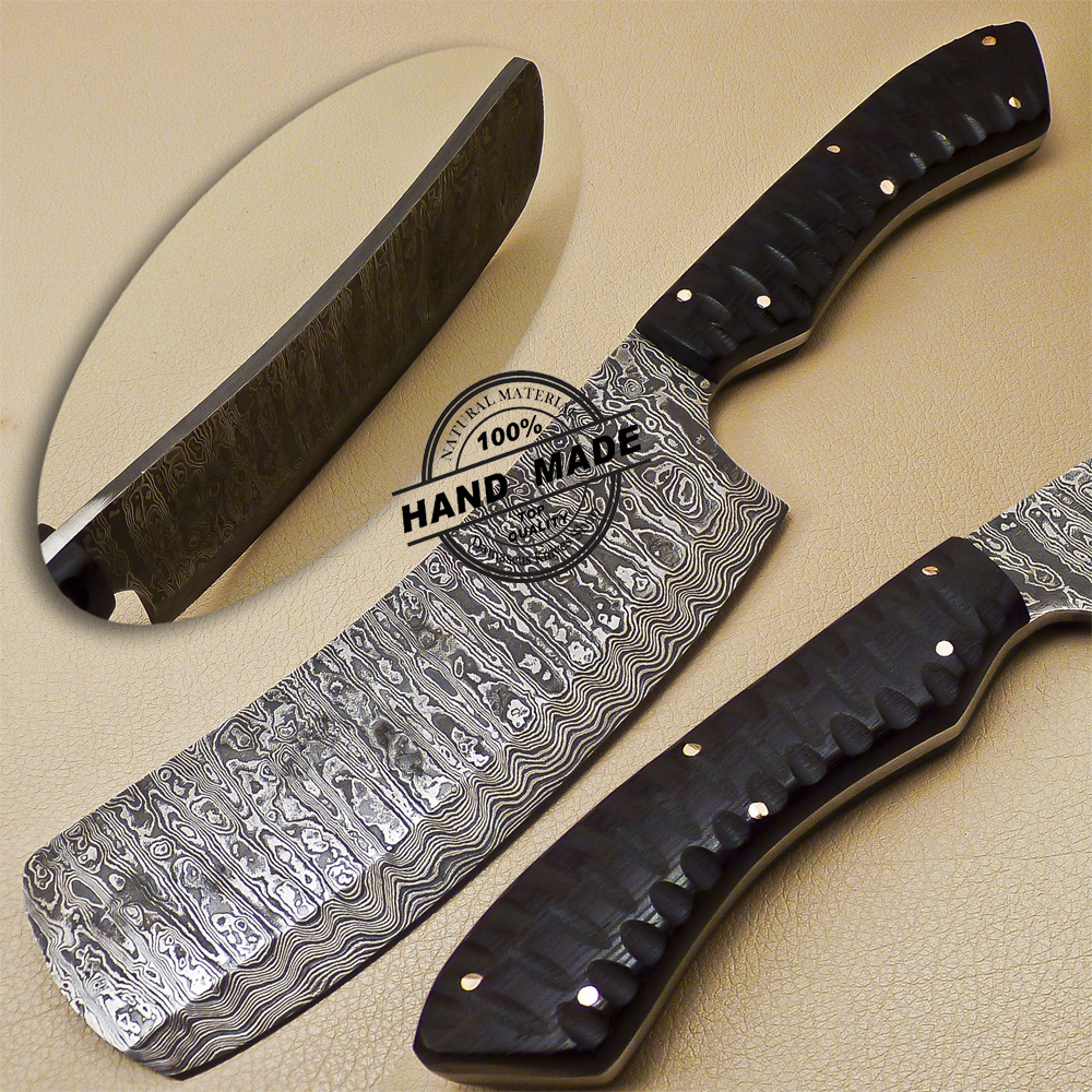 Custom Made Kitchen Knives: Damascus Cleaver Butchers Knife Custom Handmade Damascus Steel