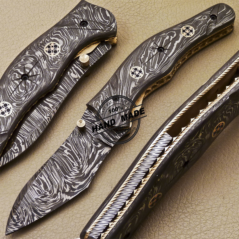New Full Damascus Folding Knife