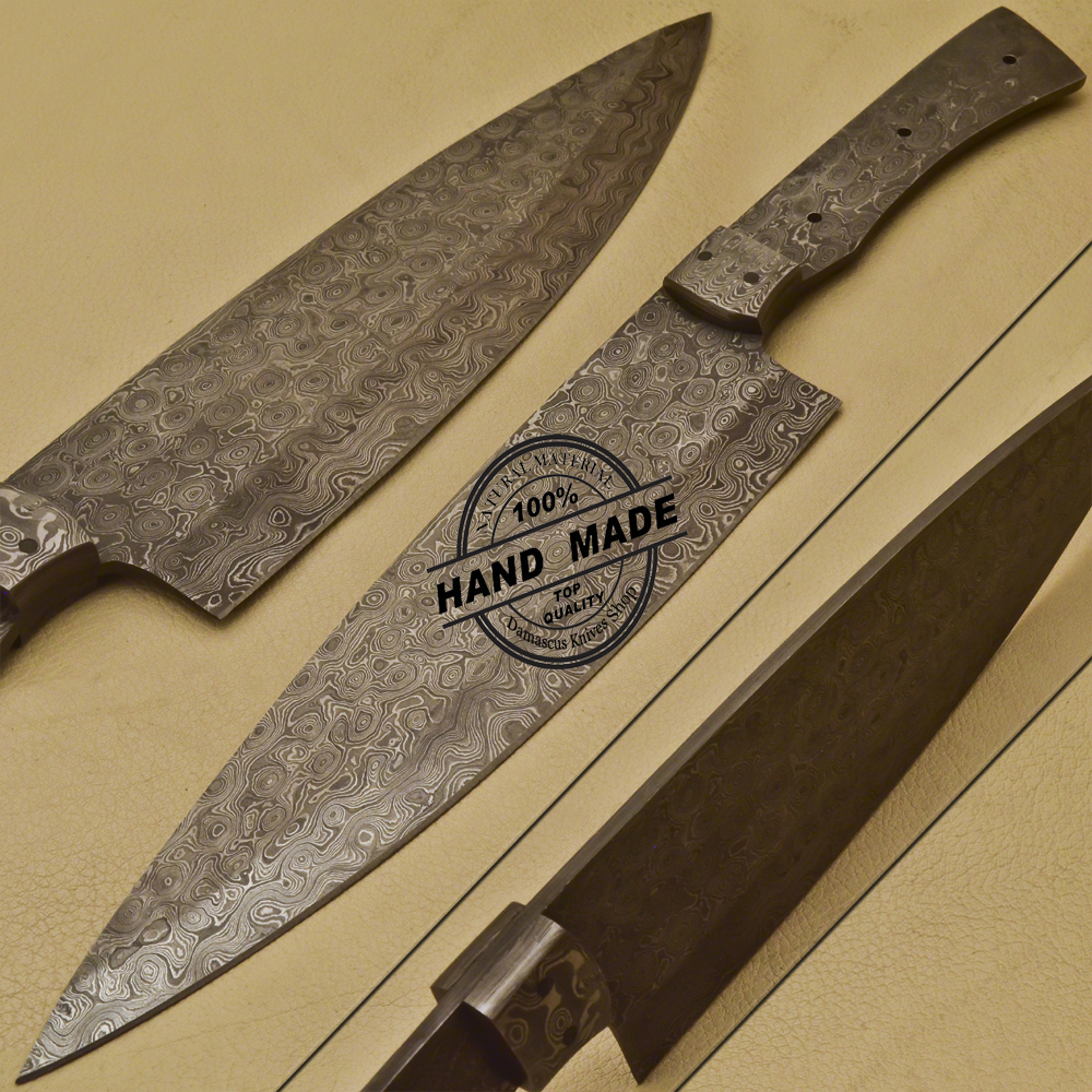Custom Made Kitchen Knives: Blank Blade Damascus Kitchen Knife Custom Handmade