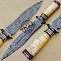 Fish Damascus Dagger Knife