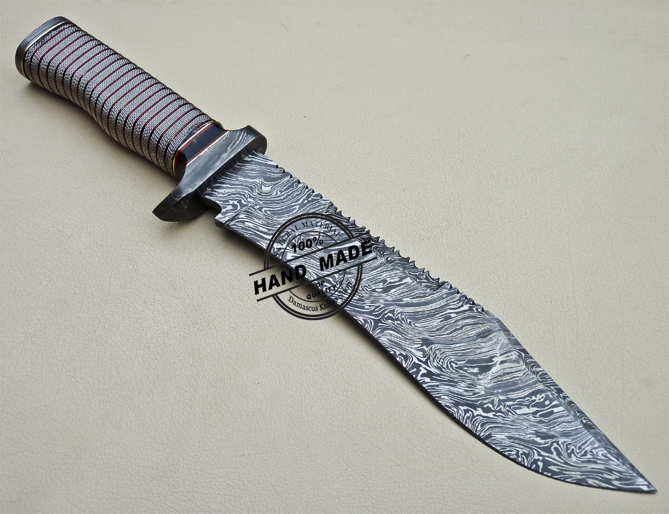 Damascus Bowie Knife Custom Handmade Damascus Steel Knife 1612