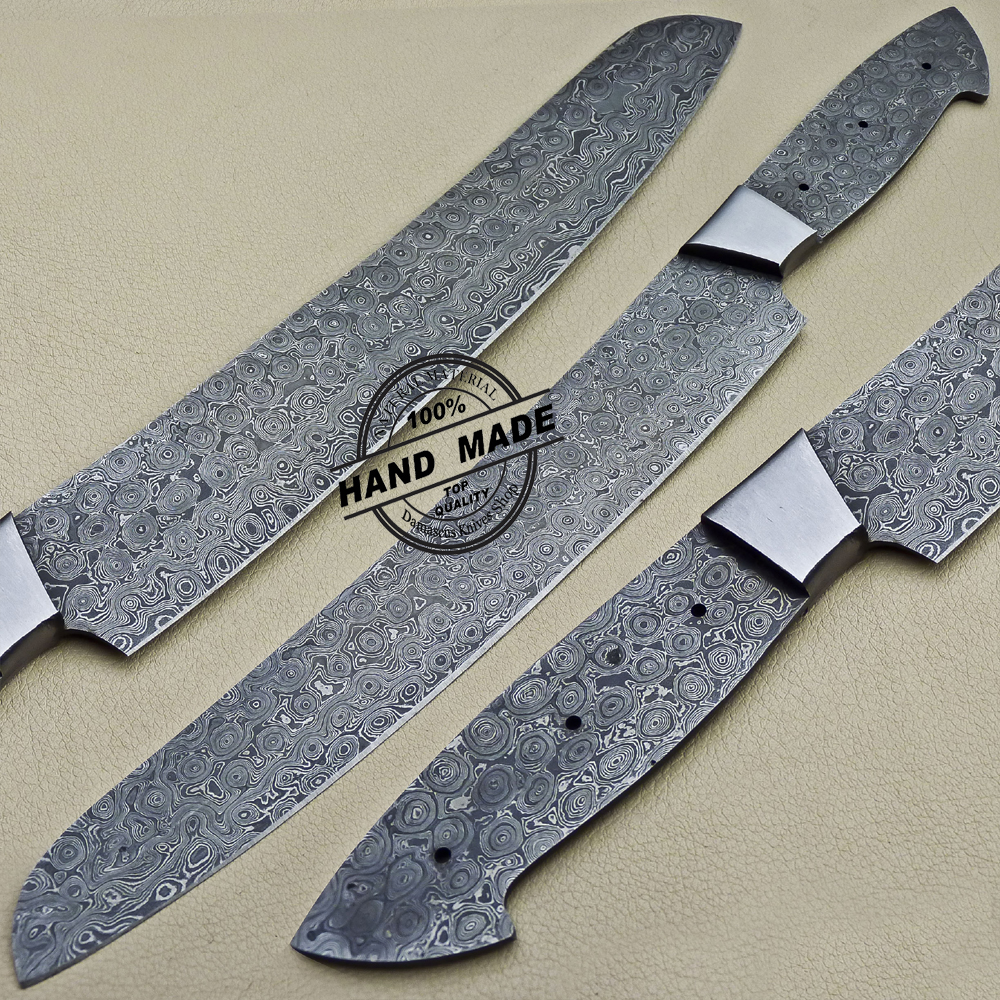 Custom Made Kitchen Knives: Blank Blade Damascus Kitchen Chef Knife Custom Handmade