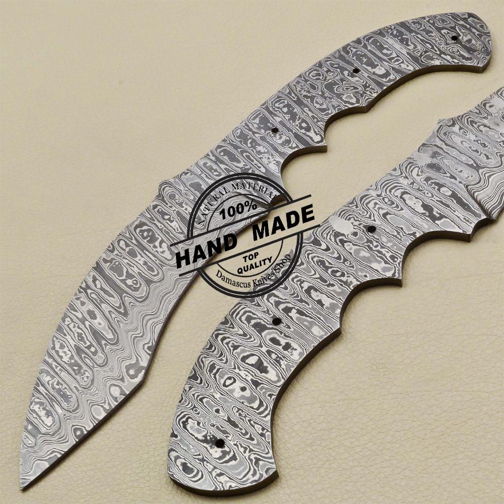 Custom Handmade Damascus Knives 7 Inches Full Tang Skinner Blank Blade