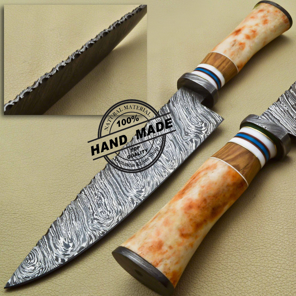 Fixed Blade Damascus Kitchen Knife Custom Handmade Damascus Steel Chef  Knife 1922